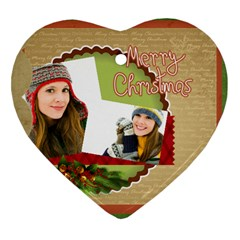 Merry Christmas By Merry Christmas   Heart Ornament (two Sides)   Efjnhc358te8   Www Artscow Com Front