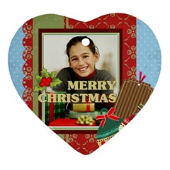 Merry Christmas By Merry Christmas   Heart Ornament (two Sides)   Tzusbhi4663h   Www Artscow Com Front