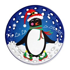 Enthusiastic Christmas Penguin  Round Filigree Ornament (Two Sides) by TheFandomWard