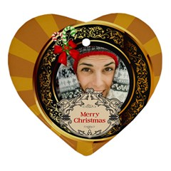 Merry Christmas By Merry Christmas   Heart Ornament (two Sides)   Efnum1yjh5l7   Www Artscow Com Front