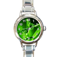 Waterdrops Round Italian Charm Watch by Siebenhuehner