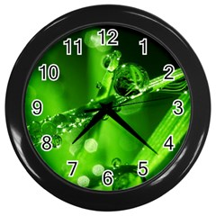 Waterdrops Wall Clock (black) by Siebenhuehner
