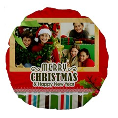 Merry Christmas By Merry Christmas   Large 18  Premium Round Cushion    Bhi0gzu0qq5o   Www Artscow Com Back