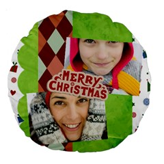 Merry Christmas By Merry Christmas   Large 18  Premium Round Cushion    Yoerljif74ti   Www Artscow Com Back