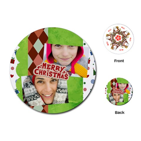 Merry Christmas By Merry Christmas   Playing Cards (round)   H4hxa7xfzxwo   Www Artscow Com Front