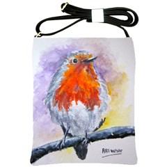 Robin Red Breast Shoulder Sling Bag by ArtByThree