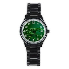 Waterdrops Sport Metal Watch (black) by Siebenhuehner
