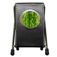 Green Bubbles  Stationery Holder Clock by Siebenhuehner