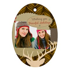 Merry Christmas By Merry Christmas   Oval Ornament (two Sides)   4jry7ogbdg50   Www Artscow Com Front