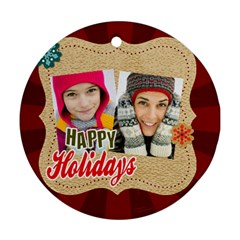 Merry Christmas By Merry Christmas   Round Ornament (two Sides)   V7kvcx02ogzs   Www Artscow Com Back