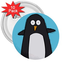 Hello Penguin 3  Button (10 Pack) by PaolAllen