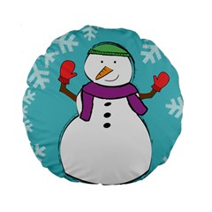 Snowman 15  Premium Round Cushion  by PaolAllen