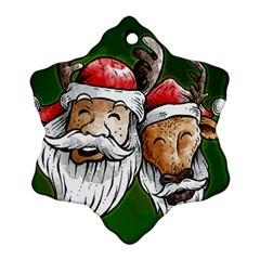 Deer Santa, Merry Christmas Ornament (Snowflake) by Contest1715928