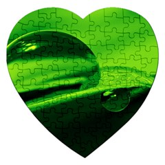 Green Drop Jigsaw Puzzle (heart) by Siebenhuehner
