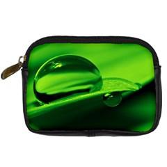 Green Drop Digital Camera Leather Case by Siebenhuehner