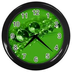 Green Drops Wall Clock (black) by Siebenhuehner