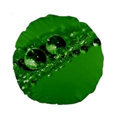 Green Drops 15  Premium Round Cushion
