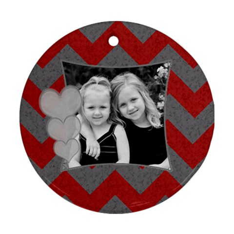 Round Chevron Heart Ornament By Amanda Bunn   Ornament (round)   Z77211bbt18t   Www Artscow Com Front