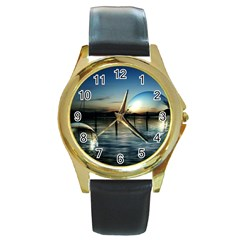 Magic Balls Round Metal Watch (gold Rim)  by Siebenhuehner