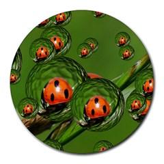 Ladybird 8  Mouse Pad (round) by Siebenhuehner