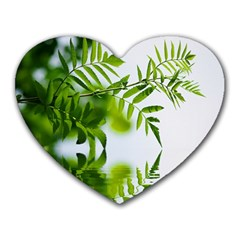 Leafs With Waterreflection Mouse Pad (heart) by Siebenhuehner