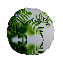 Leafs With Waterreflection 15  Premium Round Cushion  by Siebenhuehner