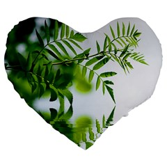 Leafs With Waterreflection 19  Premium Heart Shape Cushion by Siebenhuehner