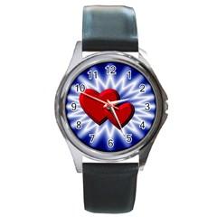 Love Round Metal Watch (silver Rim) by Siebenhuehner