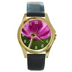 Poppy Round Metal Watch (gold Rim)  by Siebenhuehner