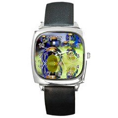 Marble Square Leather Watch by Siebenhuehner