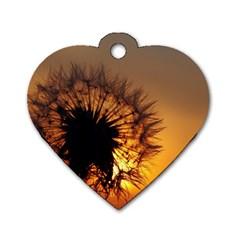 Dandelion Dog Tag Heart (two Sided) by Siebenhuehner