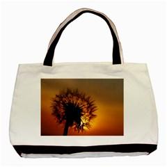 Dandelion Twin Sided Black Tote Bag by Siebenhuehner