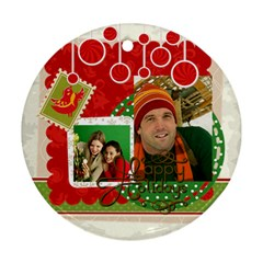 Merry Christmas By Merry Christmas   Round Ornament (two Sides)   Vkpdzoqp7t2k   Www Artscow Com Front