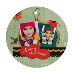 Merry Christmas By Merry Christmas   Round Ornament (two Sides)   It0rgtk72fw9   Www Artscow Com Front