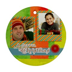 Merry Christmas By Merry Christmas   Round Ornament (two Sides)   1zyow53mkyjs   Www Artscow Com Front