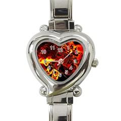 Fire Heart Italian Charm Watch  by Siebenhuehner