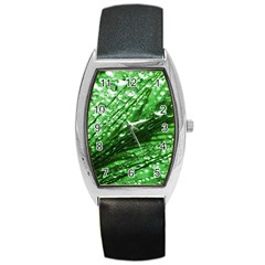 Waterdrops Tonneau Leather Watch by Siebenhuehner