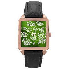 Queen Anne s Lace Rose Gold Leather Watch  by Siebenhuehner