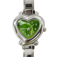 Leaf Heart Italian Charm Watch  by Siebenhuehner