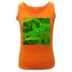 Bamboo Leaf With Drops Womens  Tank Top (Dark Colored) by Siebenhuehner