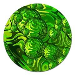 Green Balls  Magnet 5  (round) by Siebenhuehner