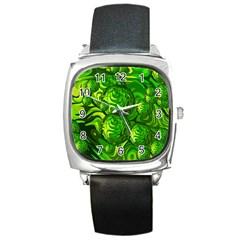 Green Balls  Square Leather Watch by Siebenhuehner