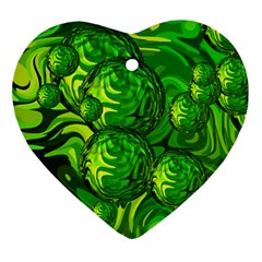 Green Balls  Heart Ornament (two Sides) by Siebenhuehner