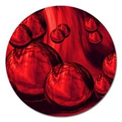 Red Bubbles Magnet 5  (round) by Siebenhuehner
