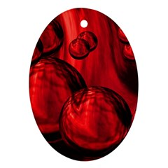Red Bubbles Oval Ornament (two Sides) by Siebenhuehner