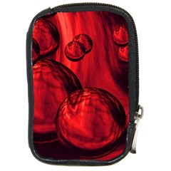 Red Bubbles Compact Camera Leather Case by Siebenhuehner