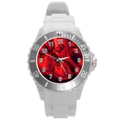 Red Bubbles Plastic Sport Watch (large) by Siebenhuehner