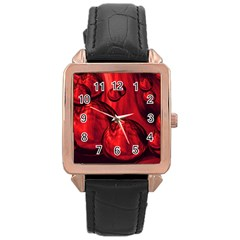 Red Bubbles Rose Gold Leather Watch  by Siebenhuehner