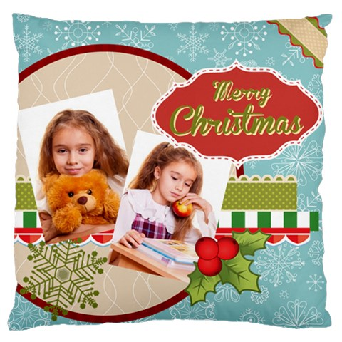 Merry Christmas By Joely   Large Cushion Case (one Side)   5p24ua8go2zk   Www Artscow Com Front