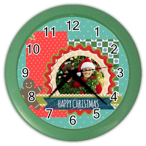 Christmas By Merry Christmas   Color Wall Clock   Yhwij6p9oc5o   Www Artscow Com Front